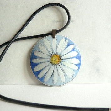 Graceful Daisy Necklace, Hand Painted Jewelry, Cobalt Blue Necklace,  Leather Cord, Flower, Small Painting on Wood