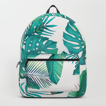 Tropical leafs pattern Backpack by printapix