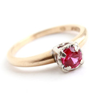 Vintage 14K Yellow & White Gold Ring - Size 5 3/4 Mid Century Ruby Red Fine Jewelry / Pink Stone