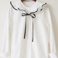 White Ruffled Collar Tie Long Sleeve Loose Blouse