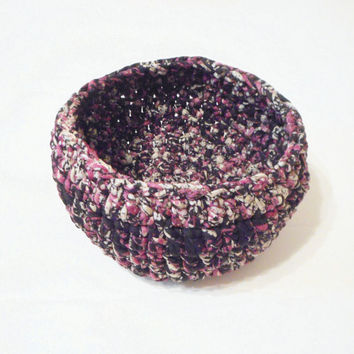 Decorative Crochet Fabric Bowl in Pink, Black and Grey, ready to ship.