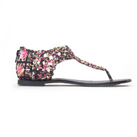 Woven Madness Sandals In Black & Pink