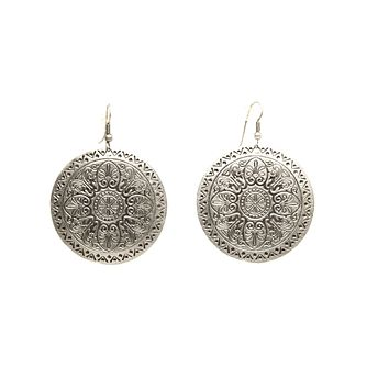 Silver Plated Dangle Earrings with Antique Look