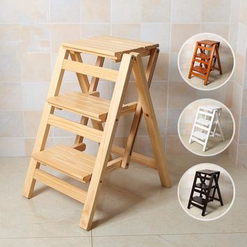 Multi-functional Ladder Stool Chair Bench Seat Wood Step Stool Folding 3 Tier for any task around the kitchen, office, bathroom