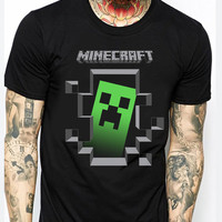 Creeper Inside Minecraft Green Men TM Mens T-shirt Black and White