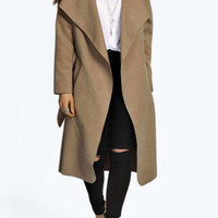 Single Breasted Lapel Collar Belted Coat