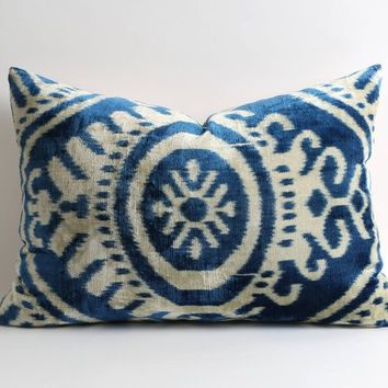 Ikat velvet pillow lumbar pillow blue velvet throw pillow cover moroccan decor throw pillows silk velvet cushion covers apartment decor