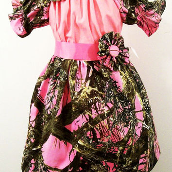 Girls Camo Dress-Peasant with Pink-with Fabric Flower Clips-#299--