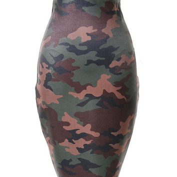 High Waist Camo Tube Skirt