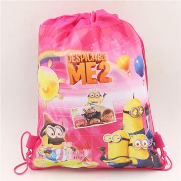 cartoon non-woven fabrics minions  drawstring backpack children boy girl school bags birthday gift event supplies
