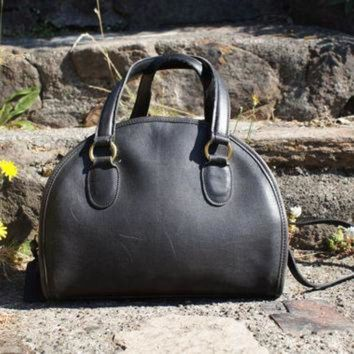 Authentic Coach Bag Black Domed Satchel Convertible Crossbody - Beauty Ticks