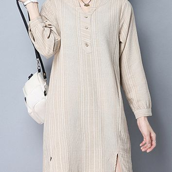 Streetstyle  Casual Vertical Striped Slit Cotton Shift Dress