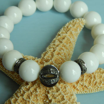 White clam shell beads with pave diamond bead, white clam bracelet, genuine diamonds, white bracelet,  beach chic, bohemian style