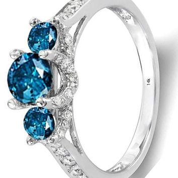 CERTIFIED 1.00 ctw 14k White Gold & Blue Diamond 3 Stone Bridal Engagement Ring