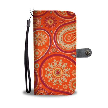 Orange Paisley Phone Wallet Case