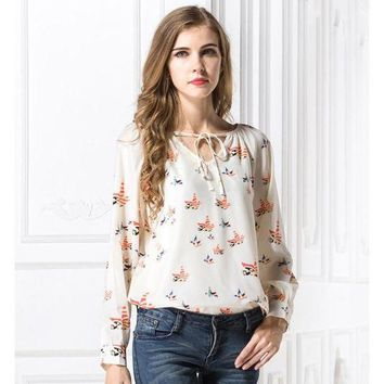 LMFLD1 2018 Spring New Arrival Women Colorful Birds Print Chiffon Blouses Female Casual Loose Neck Laced Up Shirts Girls Fashion Tops