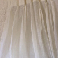 Vintage Semi Sheer Curtain White Curtain Pinch Pleat Curtain Window Curtain Panels 41 x 81 70s Curtains Living Room Curtain Kitchen