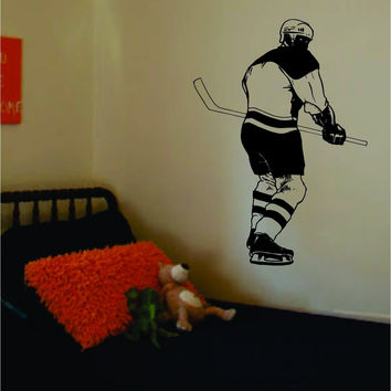 Hockey Player Version 4 Sports Design Decal Sticker Wall Vinyl Decor Art