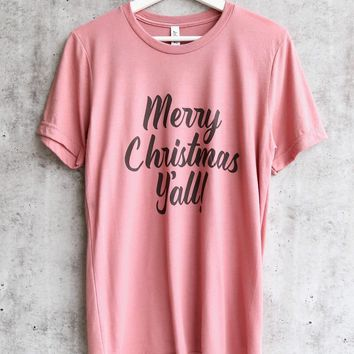 distracted - merry christmas y'all unisex tshirt - mauve