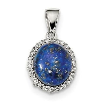Sterling Silver Oval Lapis & White Topaz Halo Pendant