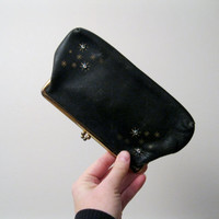 Vintage Black Leather Clutch by St Thomas - Vintage Kiss Lock Clutch Evening Bag