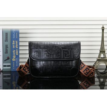 Fendi Fashionable Women Leather Chest Bag Shoulder Bag Handbag Crossbody Satchel Black