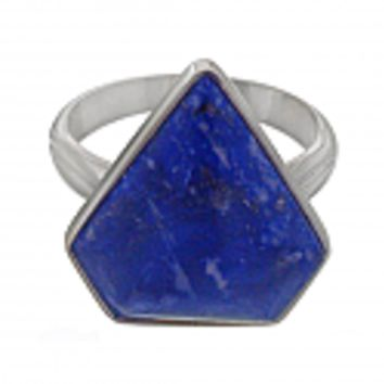 Lapis Lazuli and Sterling Silver Large Triangular Ring