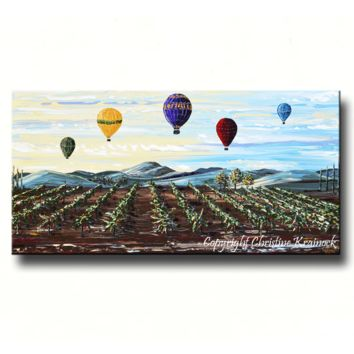 Giclee Print Art Painting Hot Air Balloons Over Vineyard Landscape - Misty Morning, Canvas Print Home Decor