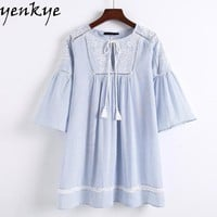 Flare Sleeve Long Shirts Women Floral Embroidery Blouses Lace Up O Neck Striped Blouse Shirts