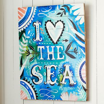 "Katie Daisy ""I Love The Sea"" Watercolor Art"