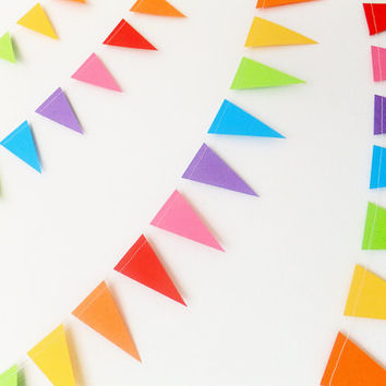 Paper Garland - Rainbow Bunting Flags - 20ft Length