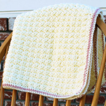 Handmade girl's baby blanket, off-white/cream and pink