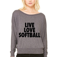 Live Love Softball WOMEN'S FLOWY LONG SLEEVE OFF SHOULDER TEE