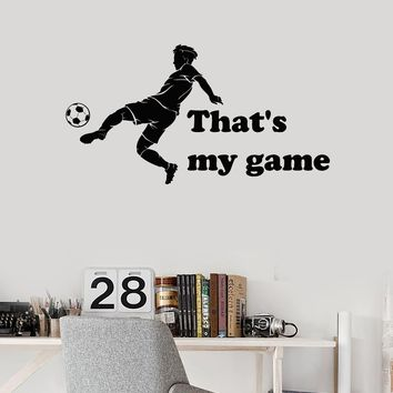 Vinyl Wall Decal Soccer Quote Silhouette Sports Boy Ball Art Decor Stickers Mural (ig5268)