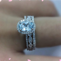 3 Ring Sets-14k White Gold 6x8mm Aquamarine Ring with 2 Diamonds Matching Bands Engagement Ring