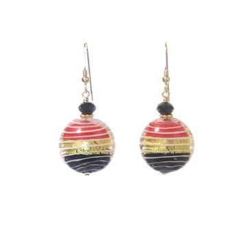 Murano Glass Red Black Disc Gold Earrings, Venetian Jewelry