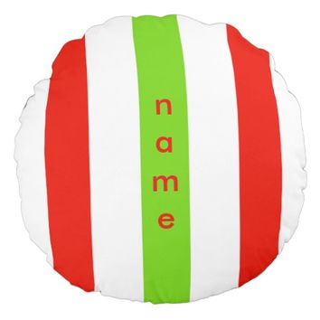 Stripes White Red Green Round Pillow