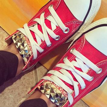 Custom Studded Red Converse All Star - Chuck Taylor Shoes - ALL SIZES & COLORS!