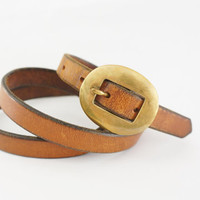 Vintage Rustic Leather Belt with Anchor Stamped Brass Buckle - women's vintage leather brown belt thin brass buckle