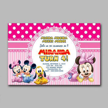 Mickey & Minnie Mouse Pink Baby Kids Birthday Invitation Party Design