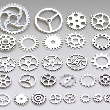 Bulk Gear Mechanical Watch Movement Antique Silver Charms Mixed Style Set of 100 A8223