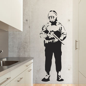 Banksy Riot Cop Wall Decals