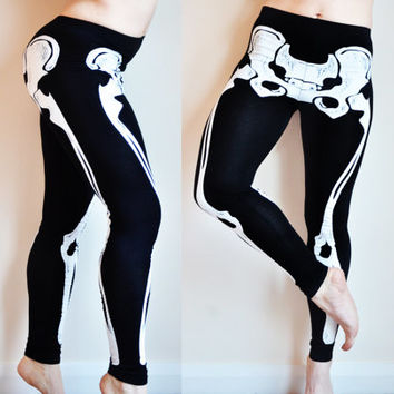 HALLOWEEN front Double printed skeleton skull bone,  dia de los muertos hip black stretchy thick leggings PLUS SIZE pants tights