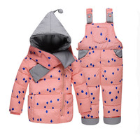 Baby Girl Winter Down Clothing Sets  Winter Dot Print Hooded Newborn Infant Bebes Snow Outwear Coat +Overalls Pants+Scarf