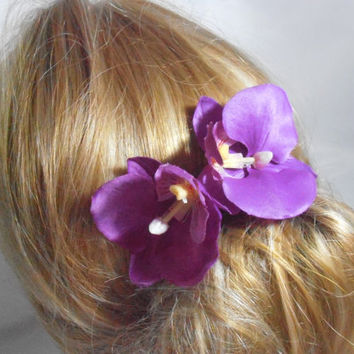 Orchid Hair Pin (set of 2). Wedding Bridal hair pin. purple orchid hair pin. flower pin, Bridesmaid hair pin, bridesmaid gift