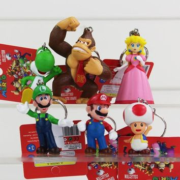 Super Mario party nes switch 6pcs/lot Classic  Bros Figure With Keychain  Luigi Yoshi Peach Goomba King Kong PVC Action Toys AT_80_8