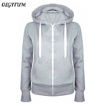 HOT SALE!2017 Hoodies Sweatshirt Ladies Women Men Coat Top NEW 5 Colors Unisex Plain Zip Up Hooded Zipper
