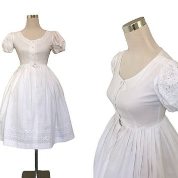 Vintage 1950's Dress | 50's 60's Dress | White Dress | Vintage Dress | Broderie Anglaise
