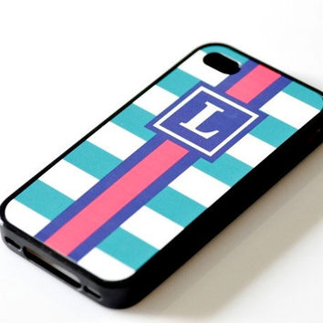 Nautical Monogram iPhone Case - Teal Stripes