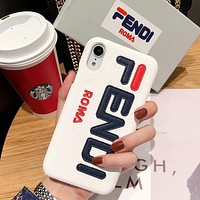 Fendi Fashion New Letter Print Women Men Leather Phone Case Protective Cover White